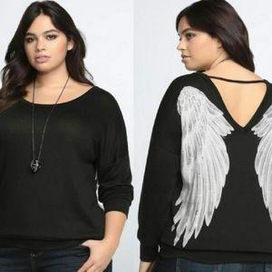 Torrid black knit angel wings print pullover top